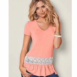 Venus lace inset V-neck top heathered coral